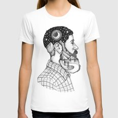 BEARDED MAN Womens Fitted Tee SMALL White