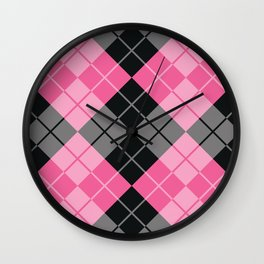 Pink Argyle Wall Clock