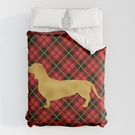 Red Plaid Dachshund Comforters