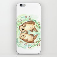 otters iPhone & iPod Skins featuring Otters Holding Hands by Georgia Dunn