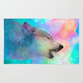 Breathing Dreams Like Air (Wolf Howl Abstract) Rug
