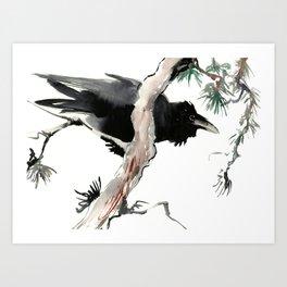 Raven, Japanese Ink Art, Traditional Asian Watercolor Art Print