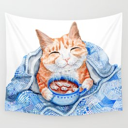 Happy Cat Drinking Hot Chocolate Wall Tapestry