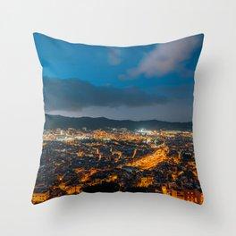 Nighttime in Barcelona 02 Throw Pillow