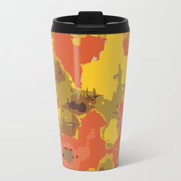 vintage psychedelic geometric painting texture abstract in orange yellow brown blue Travel Mug