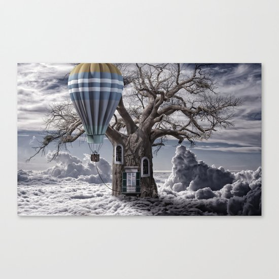 Home tree up in the clouds Canvas Print