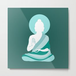 Teal Minimalist Buddha Graphic Metal Print