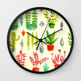 Cactus, Leaves, Florals Wall Clock