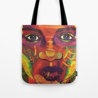 sandra dieckmann Tote Bags featuring Say Her Name, dedicated to Sandra Bland by Bisa Butler