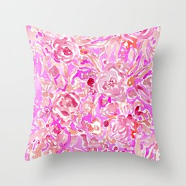 BRAINWASH Pink Floral Throw Pillow