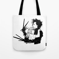 edward scissorhands Tote Bags featuring Edward Scissorhands by Gregory Casares