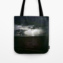 Lightning as It Hits the Water Tote Bag