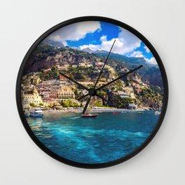 Coast line of Positano, Italy Wall Clock