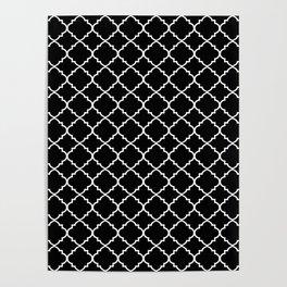 Black and White Moroccan Quatrefoil Poster