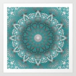 Turquoise Flower Mandala Art Print
