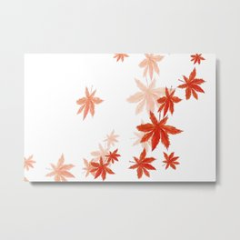 Falling red maple leaves watercolor painting Metal Print