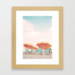 Beach Chairs and Umbrellas Framed Art Print