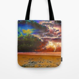 Rage Over The Ocean | Storm Beach Lightening - Oil Painting Tote Bag