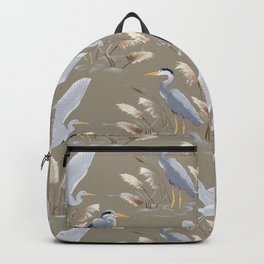Great Blue Heron - Tan and Gray Backpack