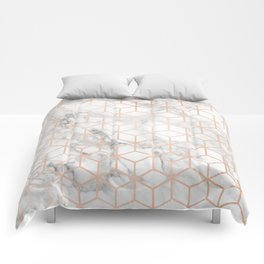 Marble & Rose Gold Squares Comforters