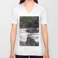 yosemite V-neck T-shirts featuring Yosemite Rapids by Angela McCall