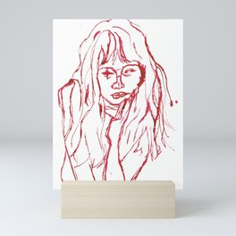 girl afraid the smiths homage portrait red Mini Art Print