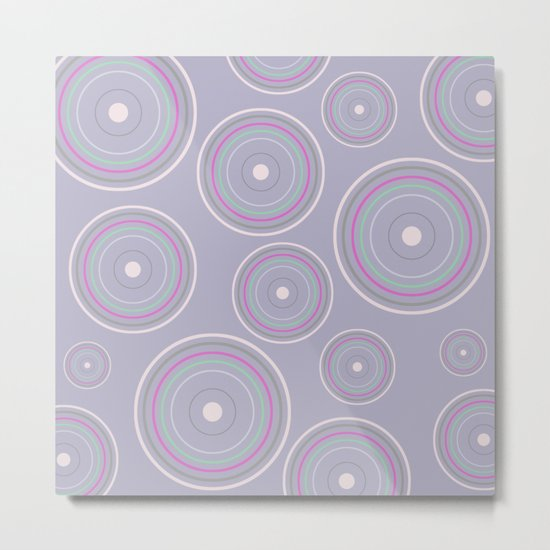 CONCENTRIC CIRCLES IN BLUE (abstract pattern) Metal Print