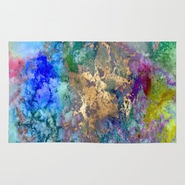 Galaxy, abstract, gold accent Rug