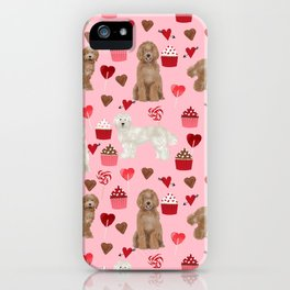 Labradoodle valentines day cupcakes hearts dog breed pet pattern labradoodles iPhone Case