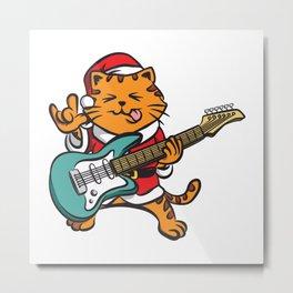 Guitar Player Cat Metal Fan Funny Christmas Gift Metal Print