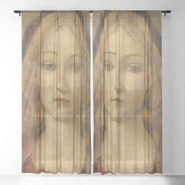 "Sandro Botticelli ""The Virgin and Child with Saint John and an Angel"" The Virgin Sheer Curtain"