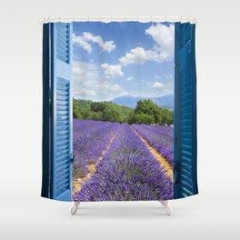 wooden shutters, lavender field Shower Curtain