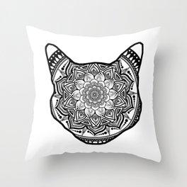 Cat Mandala Throw Pillow