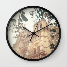 blossoms over Notre-Dame Wall Clock