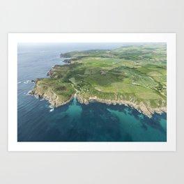 Aerial views over Porthgwarra Beach towards Lands End Cornwall. Art Print