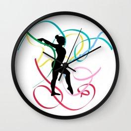 Ribbon dancer on white Wall Clock