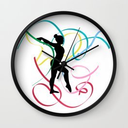 Ribbon dancer on white Wall Clock