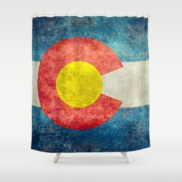 Colorado State Flag in Vintage Grunge Shower Curtain