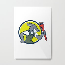 Dog Plumber Running Monkey Wrench Circle Cartoon Metal Print