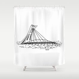 Montréal - Stade Olympique - Black Shower Curtain
