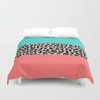 the national Duvet Covers featuring Leopard National Flag XVII by M Studio