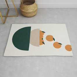 Abstract kitchen oranges in bowl Rug