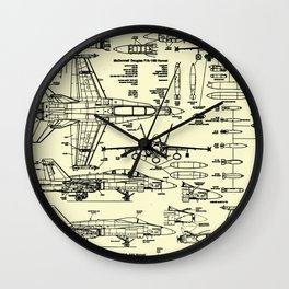 F-18 Blueprints // Parchment Wall Clock