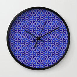 Flower of Life Blue Pattern Wall Clock