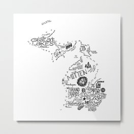 Michigan - Hand Lettered Map Metal Print