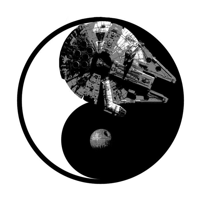 Millennium Falcon / Death Star Yin Yang Symbol Duvet Cover
