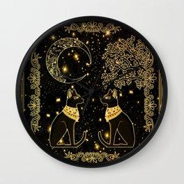 "Tarot ""The moon"" - gold - cat version Wall Clock"