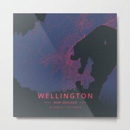 Wellington, New Zealand - Neon Metal Print