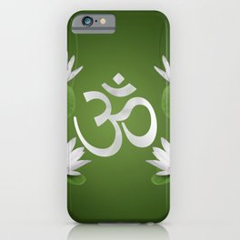 Om Symbol with Lotus flowers on green iPhone Case