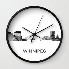 Winnipeg Mantoba Canada  Skyline WB-BW Wall Clock